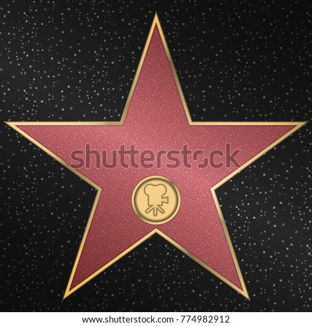 Walk of fame star. Reward in the form of a star. Vector illustration