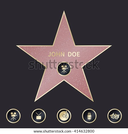 walk of fame star with emblems