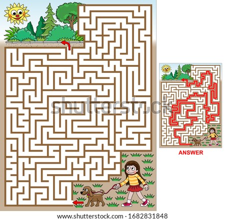 Walk with a doggie (Girl).  Find a path to the park. Vector illustration of labyrinth, maze with entry and exit. Only one way is leading to the finish, other paths are dead ends. Maze for kids.