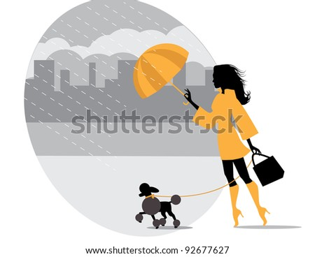 walking a poodle on a rainy day