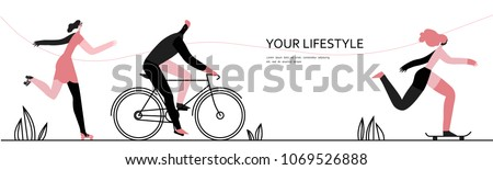 Walking and Sport in the Park. People character vector illustration flat design. Use in Web Project and Applications.