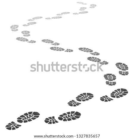 Walking away footsteps. Outgoing footprint silhouette, footstep prints and shoe steps going in perspective. Running shoe tread footprints vector illustration