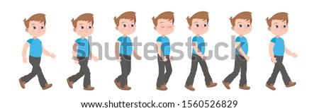 Walking baby. Animation cycle of walking cartoon character.  Сток-фото ©