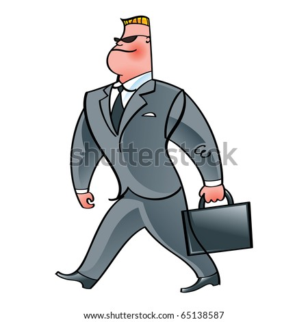 Walking Businessman in suit, glasses and briefcase