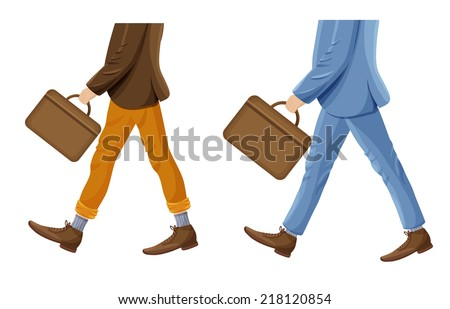 walking businessmen with