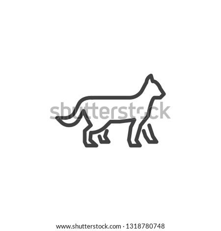 walking cat line icon linear