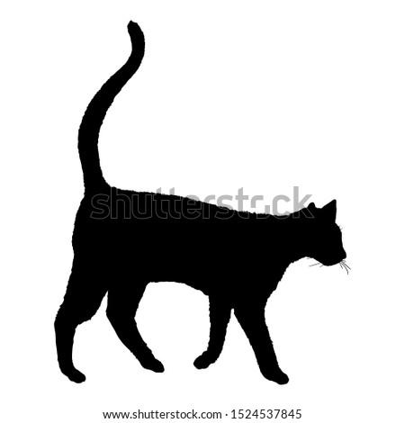 Walking Cat SIlhouette. Vector Black Feline Logo.