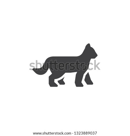 walking cat vector icon filled