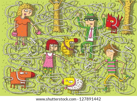 Walking Dogs in Park Maze Game for children with separated isolated layers. Task: Connect dogs with owners! Solution: lady-white, man-red, boy-yellow, girl-brown. Illustration is in eps10 vector mode!