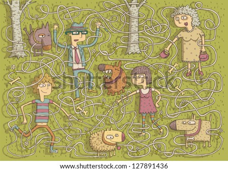 Walking Dogs Maze Game for children. Task: Connect dogs with owners! Solution: lady and puffy, man and peeing, boy and barking, girl and smiling dog. Illustration is in eps10 vector mode!