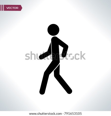 Walking icon from Man Poses Set. Style: monochrome icons, rounded corners, white background.