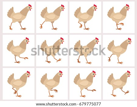 Walking light brown hen sprite sheet isolated on white background. Vector illustration. Can be used for GIF animation