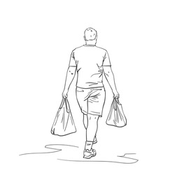 Walking man carrying shopping bags in both hands, back view, Vector sketch, Hand drawn linear illustration