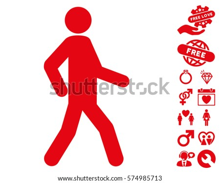 walking man pictograph with...
