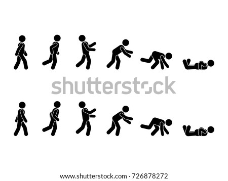 Walking man stick figure pictogram set. Different positions of stumbling and falling icon set symbol posture on white