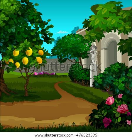 walking paths in the garden of