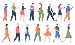 Walking people. Business men and women walk side profiles, people in seasonal and office clothes. Young and elderly moving stylish characters. Walkers isolated vector illustration icons set
