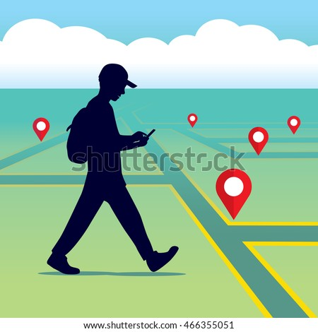 walking people with a mobile