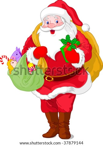 Walking  Santa Claus carrying his gift bag.  Isolated on a white background.