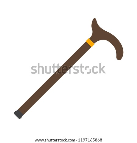Walking stick cane flat icon. You can be used  walking stick cane icon for several purposes like: websites, UI, UX, print templates, promotional materials, info-graphics, web and mobile phone apps.