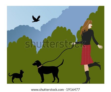 walking the dog and meeting a cat illustration