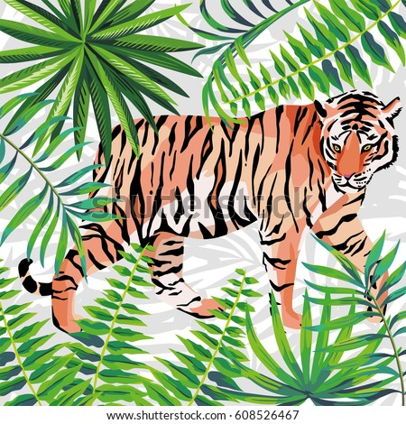 walking tiger in the jungle