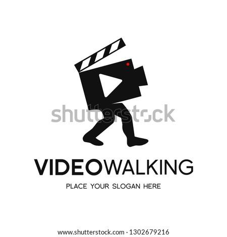 walking video vector logo