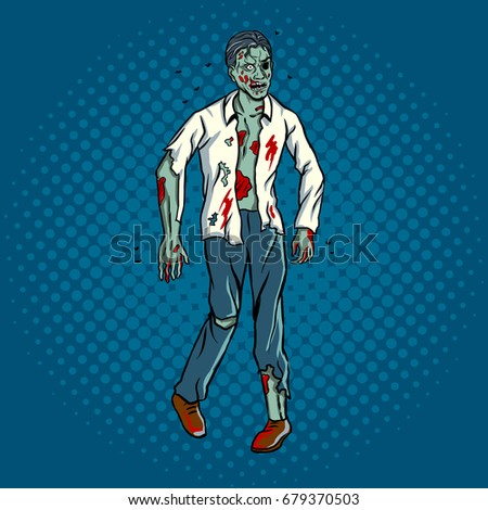 walking zombie pop art retro