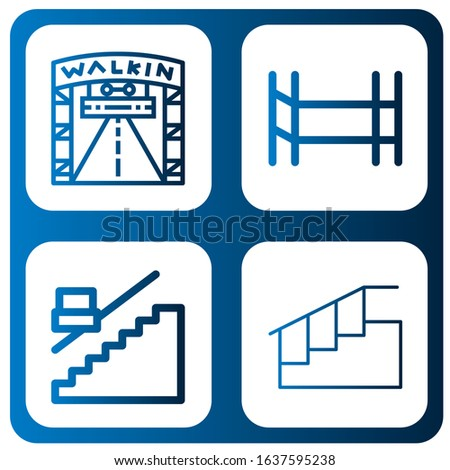 walkway icon set. Collection of Walking street, Scaffolding, Stair, Stairs icons