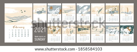 Wall сalendar 2021design. Week starts on Sunday. Nature colors. Theme of  ecology. Monthly calender 2021. 12 months. Editable calendar page template. Vertical. Abstract artistic vector illustration.