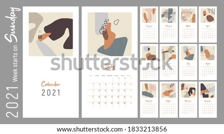 Wall сalendar 2021. Week starts on Sunday. Monthly Wall Calendar 2021. Editable calender page template with ruled blocks allocated for each day. Abstract trendy vector illustrations. Minimalism style.
