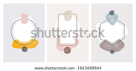 Wall art watercolor abstract art background . Abstract design with doodles and various shapes. modern art isolated vector graphic. minimalistic geometric frames hand painted, vector illustration