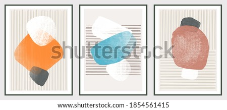 Wall art watercolor abstract art background frame. Abstract design with doodles and various shapes. modern art isolated vector graphic. minimalistic geometric frames hand painted, vector illustration