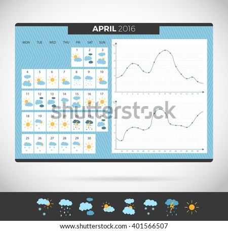 stock-vector-wall-calendar-april-with-weather-observation-weather-journal-vector-template-weather-diary
