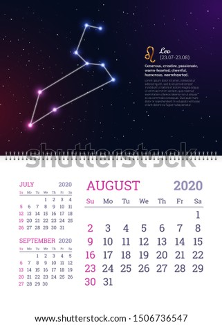 Wall calendar for August 2020 year with leo zodiac constellation. Leo star sign and dates of birth on deep space background. Astrology horoscope with unique personality traits vector illustration
