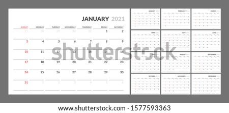 Wall calendar for 2021 year in clean minimal style. Corporate design planner template. Week Starts on Sunday. Set of 12 Months. Ready for print.