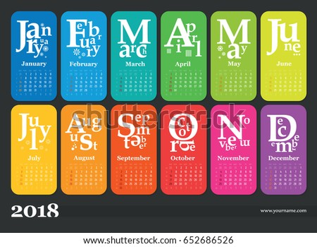 Wall calendar for 2018 year. Multicolored pages. Week start sunday, classic grid, english. Editable vector template for web and print design.