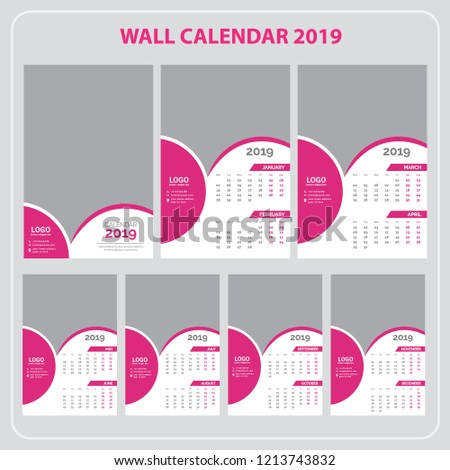 Wall calendar for 2019 Year. Set of 12 Months. #1213743832