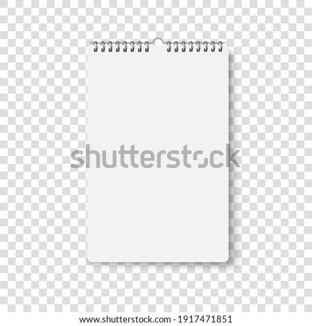 Wall calendar mockup. Spiral calender mock up. Vector realistic office template. Empty sheet poster on wall