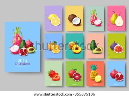 Wall calendar 2016 - polygonal fruit and berries. Vector illustration #355895186