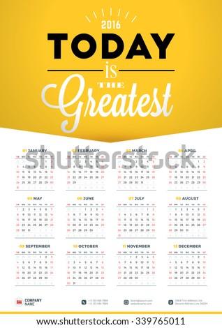 wall calendar poster for 2016