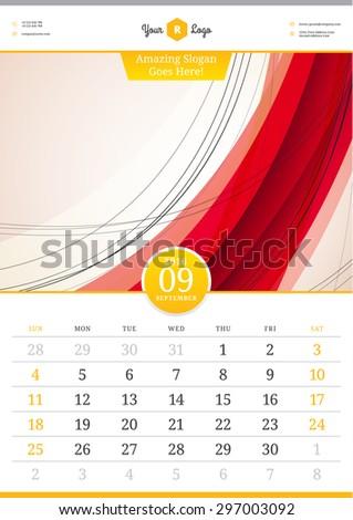 wall calendar 2016 september