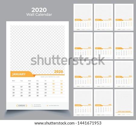 wall calendar 2020 template design