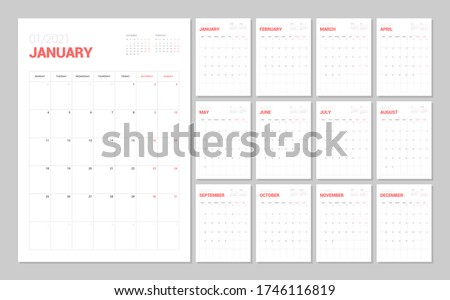 Wall calendar template for 2021 year. Planner diary in a minimalist style. Week Starts on Monday. Monthly calendar ready for print. Foto stock ©