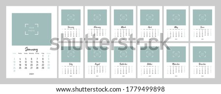 Wall calendar template for 2021 year. Set of 12 months. 2021. Week starts on Sunday. Concept, vector editable calender page template for photo. Planner design. Vertical.