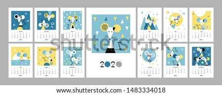 Wall calendar 2020 with white rat. Set of 12 months. 2020 vision. Week starts on Sunday. Concept, vector editable calender page template. Symbol of the year in the Chinese calendar. Abstract. Vertical
