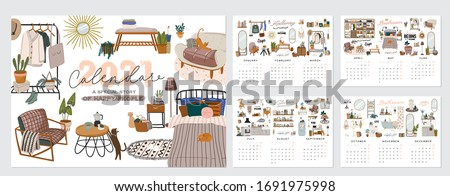 Wall calendar. 2021 Yearly Planner with all Months. Good school Organizer and Schedule. Cute home interior background. Motivational quote lettering. Flat vector illustration in trendy style