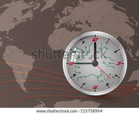 Wall clock and world map