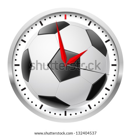 Wall clock. Football style. Illustration on white background