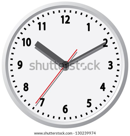 Wall clock. The electronic device. Vector illustration.